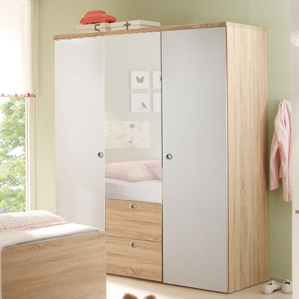 kleiderschrank wiki in eiche sonoma und wei babyzimmer schrank kinderzimmer. Black Bedroom Furniture Sets. Home Design Ideas