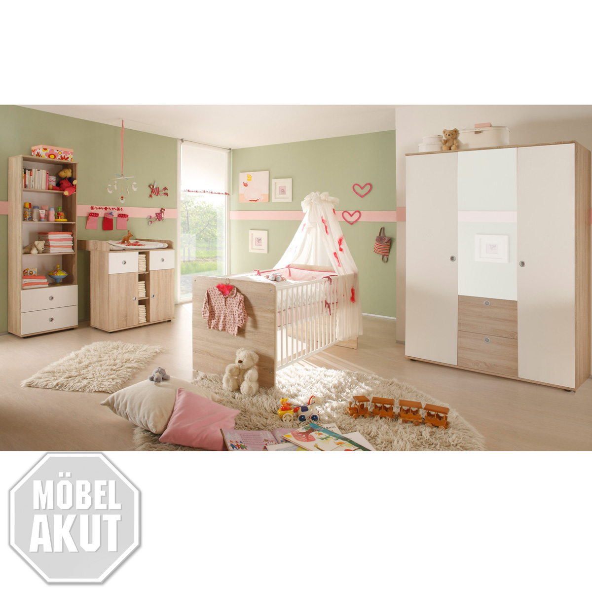 4 tlg babyzimmer winnie kinderzimmer sonoma eiche s gerau wei spiegel ebay. Black Bedroom Furniture Sets. Home Design Ideas