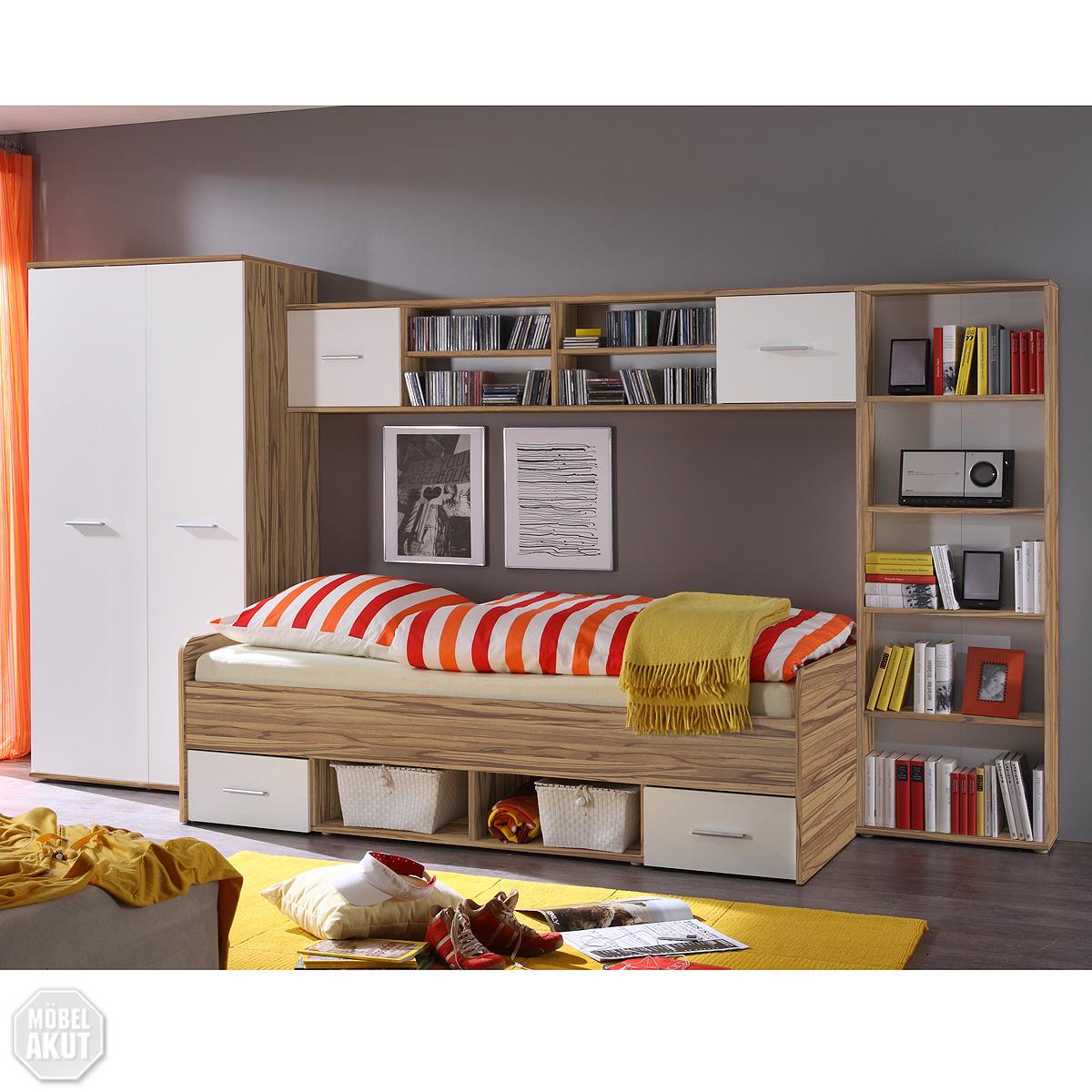 jugendzimmer set nadal kinderzimmer in baltimore walnuss und wei 4 tlg ebay. Black Bedroom Furniture Sets. Home Design Ideas