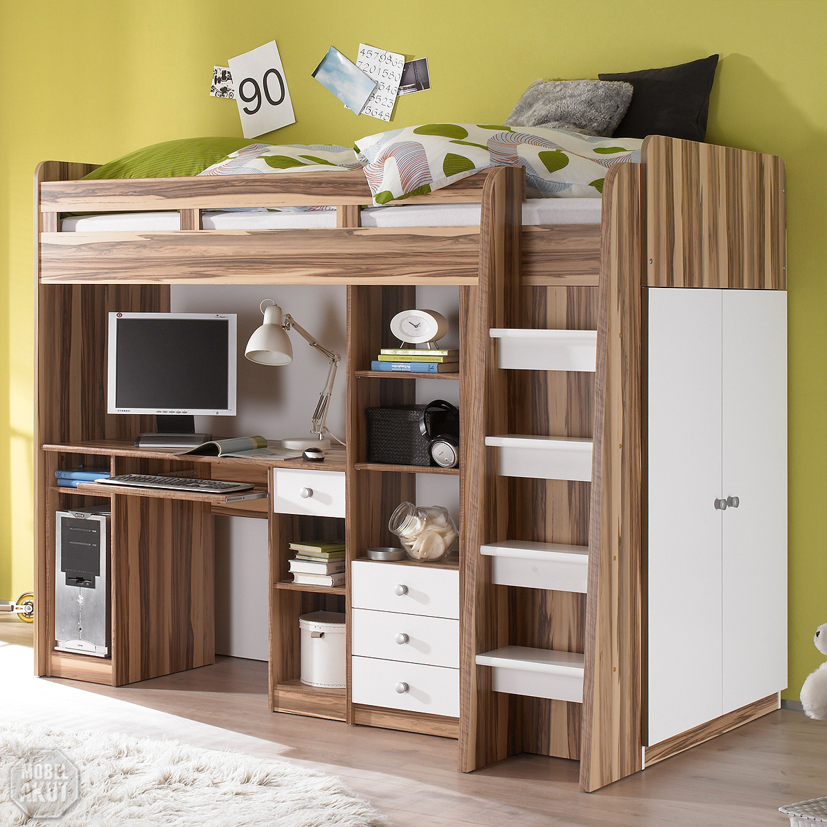 hochbett unit etagenbett kinderbett bett in baltimore walnuss und wei 90x200 cm ebay. Black Bedroom Furniture Sets. Home Design Ideas