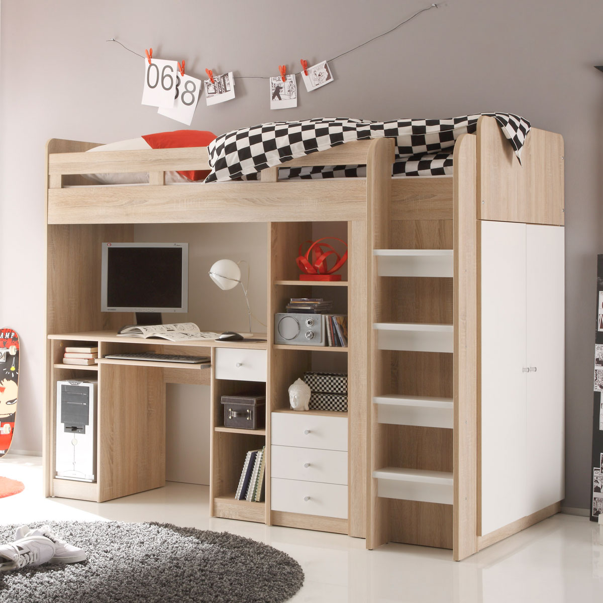hochbett unit etagenbett kinderbett bett sonoma eiche s gerau und wei 90x200 cm ebay. Black Bedroom Furniture Sets. Home Design Ideas
