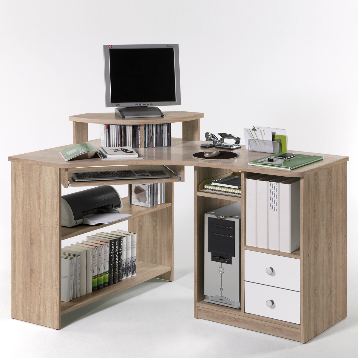 eckschreibtisch tanga in eiche sonoma schreibtisch b ro. Black Bedroom Furniture Sets. Home Design Ideas