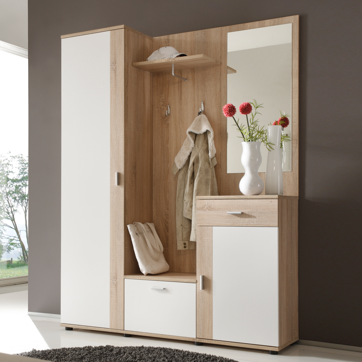 garderoben set patent spiegel schuhschrank kommode sonoma eiche wei ebay. Black Bedroom Furniture Sets. Home Design Ideas