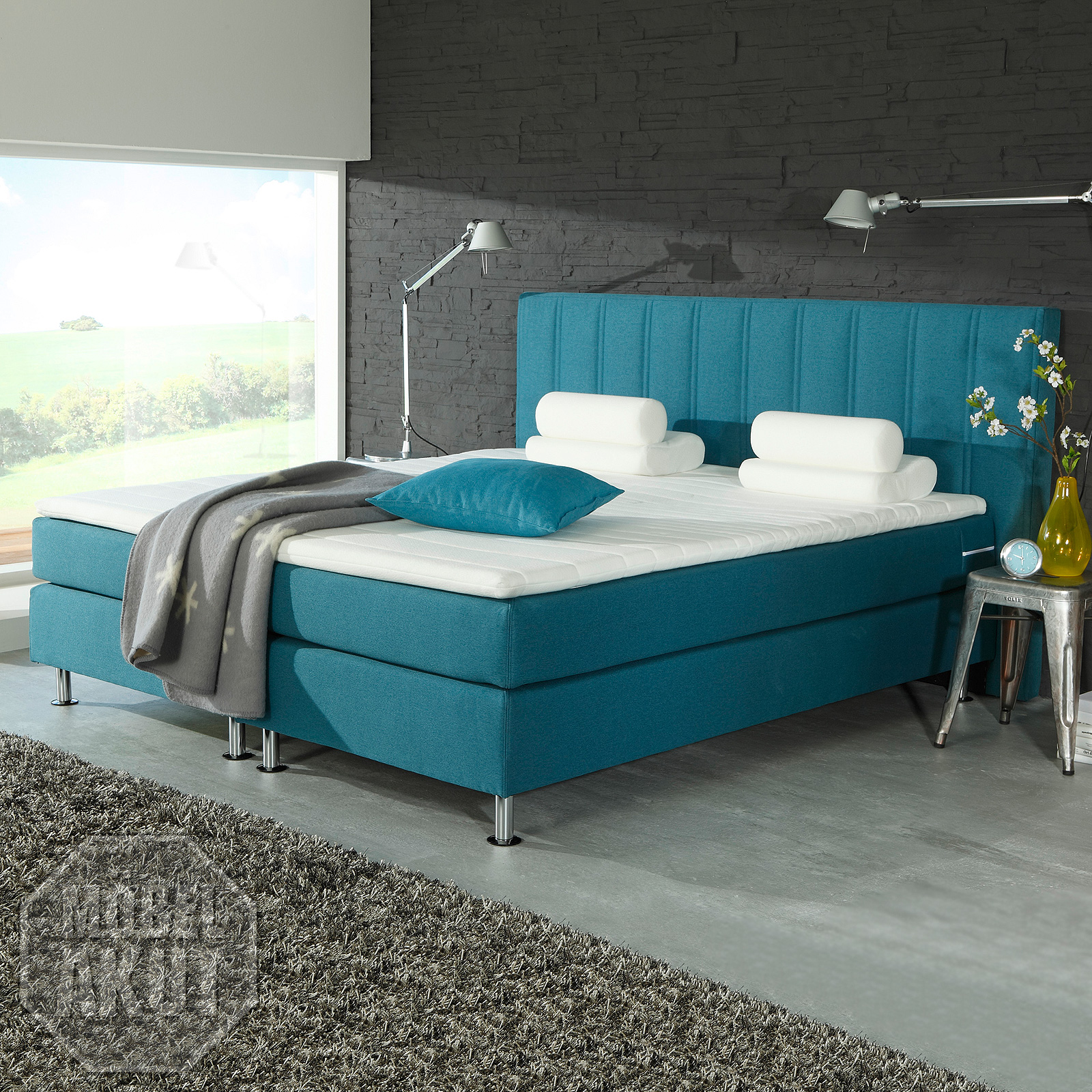 boxspring bett ohio doppelbett hotelbett in petrol blau. Black Bedroom Furniture Sets. Home Design Ideas