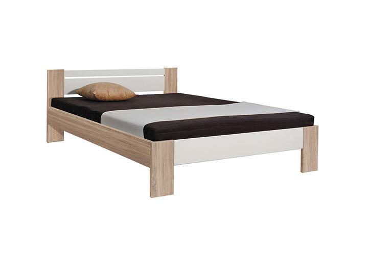 bett vega futonbett in sonoma eiche und wei mit rollrost. Black Bedroom Furniture Sets. Home Design Ideas