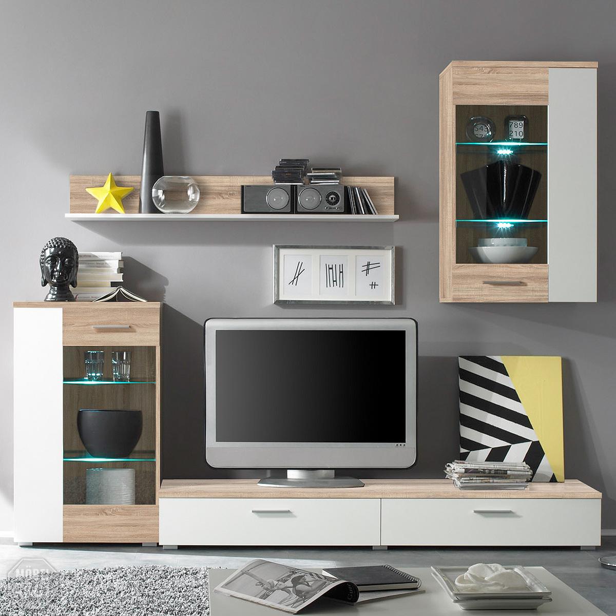 wohnwand cat anbauwand sonoma eiche wei inkl led neu. Black Bedroom Furniture Sets. Home Design Ideas