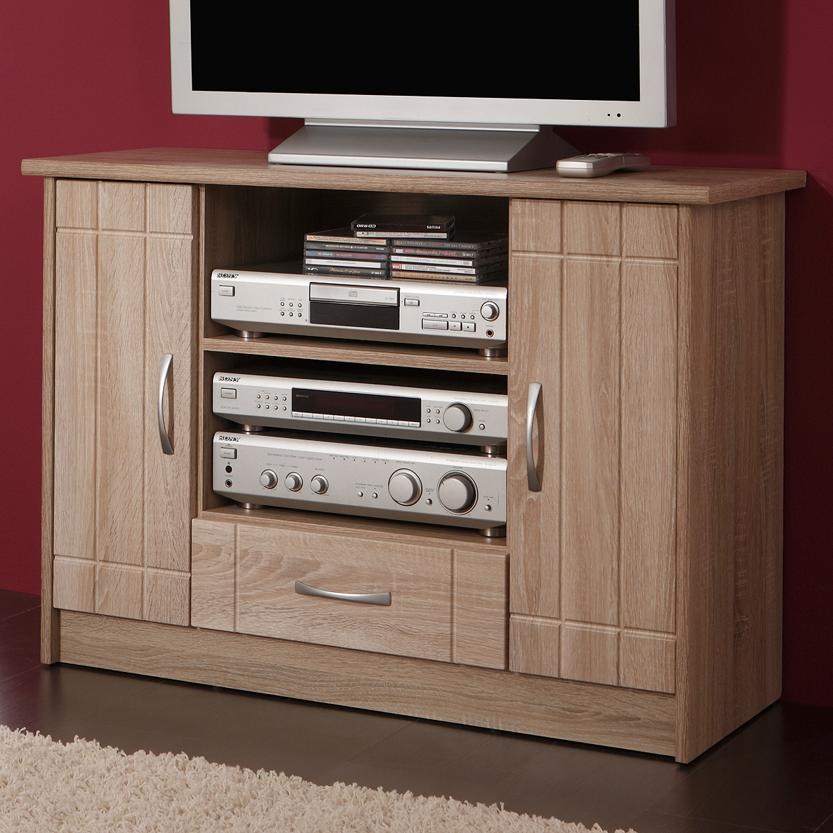tv kommode village sonoma eiche dekor tv schrank ebay. Black Bedroom Furniture Sets. Home Design Ideas