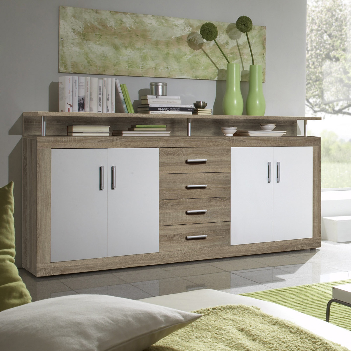 sideboard juno kommode sonoma eiche und wei 195 cm breit. Black Bedroom Furniture Sets. Home Design Ideas