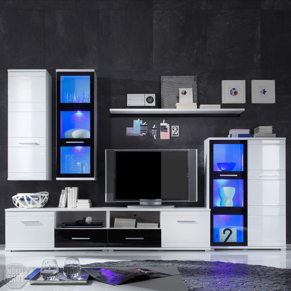 wohnwand ultra 2 anbauwand wei schwarz inkl led neu ebay. Black Bedroom Furniture Sets. Home Design Ideas