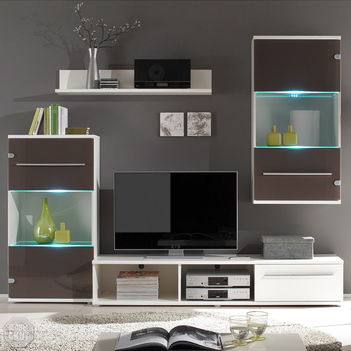wohnwand magic anbauwand braun glas wei inkl led neu ebay. Black Bedroom Furniture Sets. Home Design Ideas