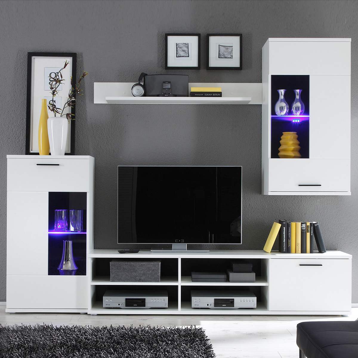 wohnwand frontal anbauwand wohnzimmer in wei inklusive led ebay. Black Bedroom Furniture Sets. Home Design Ideas