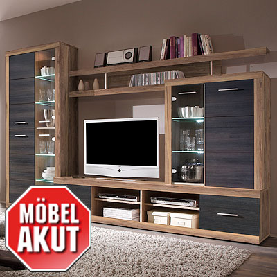 wohnwand cancan 4 anbauwand nussbaum satin touchwood inkl led neu ebay. Black Bedroom Furniture Sets. Home Design Ideas