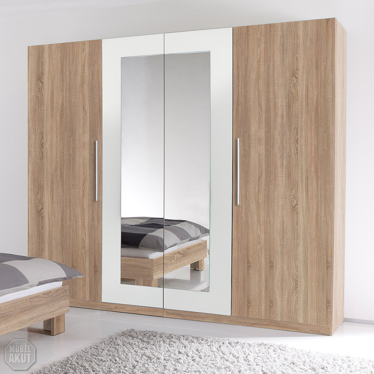 kleiderschrank martina schrank sonoma eiche s gerau und wei mit spiegel 228 cm ebay. Black Bedroom Furniture Sets. Home Design Ideas