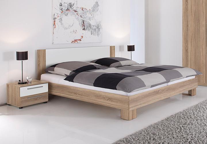 bettanlage martina in sonoma eiche s gerau und wei 180x200 bett nako futonbett ebay. Black Bedroom Furniture Sets. Home Design Ideas