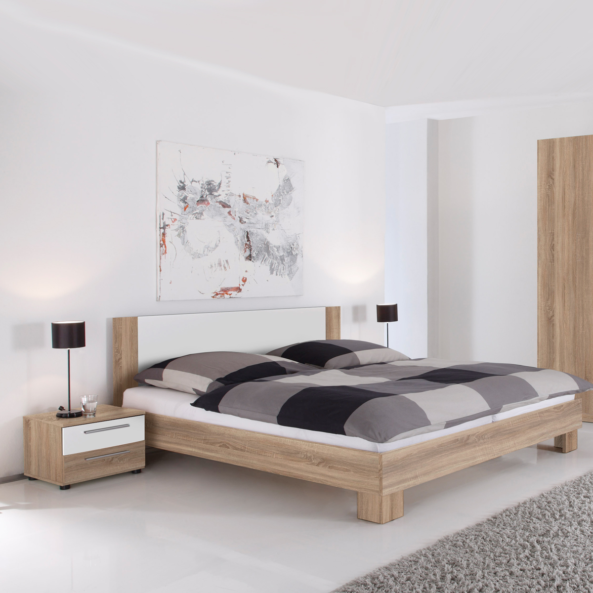 bettanlage martina in sonoma eiche s gerau und wei. Black Bedroom Furniture Sets. Home Design Ideas