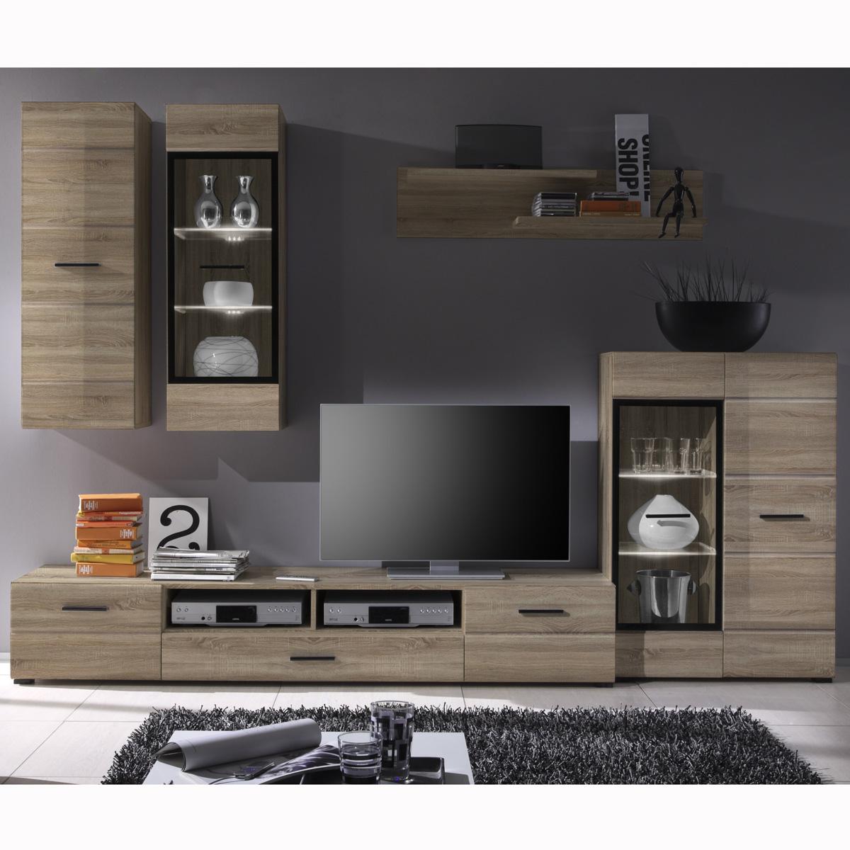 wohnwand attac anbauwand sonoma eiche inkl led neu ebay. Black Bedroom Furniture Sets. Home Design Ideas