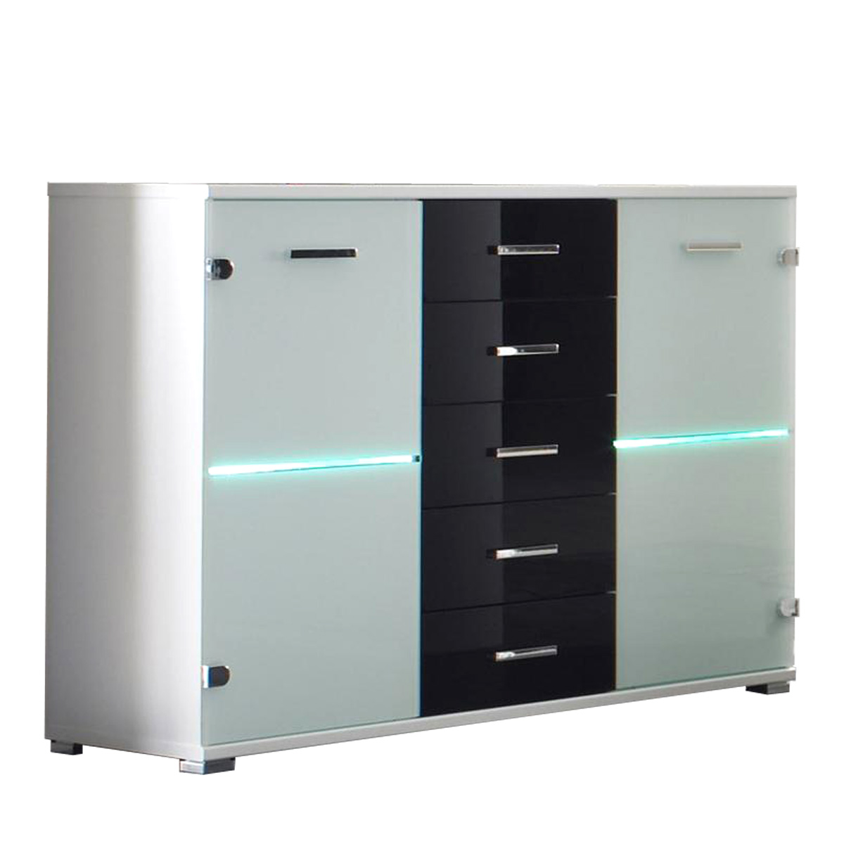 sideboard cobra kommode glas wei schwarz inkl led beleuchtung neu ebay. Black Bedroom Furniture Sets. Home Design Ideas
