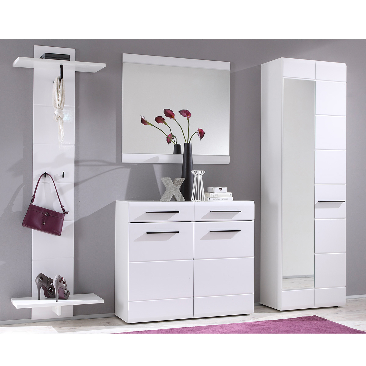 garderoben set derby spiegel kommode schrank 4 teilig in wei hochglanz ebay. Black Bedroom Furniture Sets. Home Design Ideas