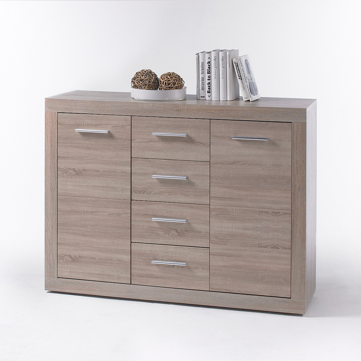 kommode cancan 4 sideboard highboard wei und sonoma eiche dekor ebay. Black Bedroom Furniture Sets. Home Design Ideas