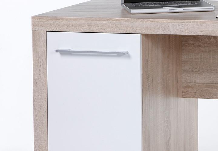 Schreibtisch cube pc tisch computertisch wei und sonoma for Kleiner schreibtisch eiche