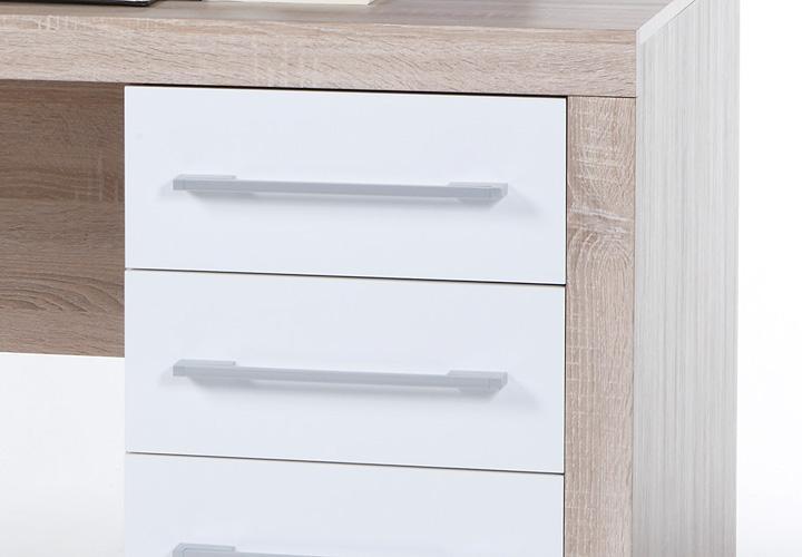 schreibtisch cube wei und sonoma eiche 160x70 cm pc tisch computertisch eur 159 95 picclick de. Black Bedroom Furniture Sets. Home Design Ideas