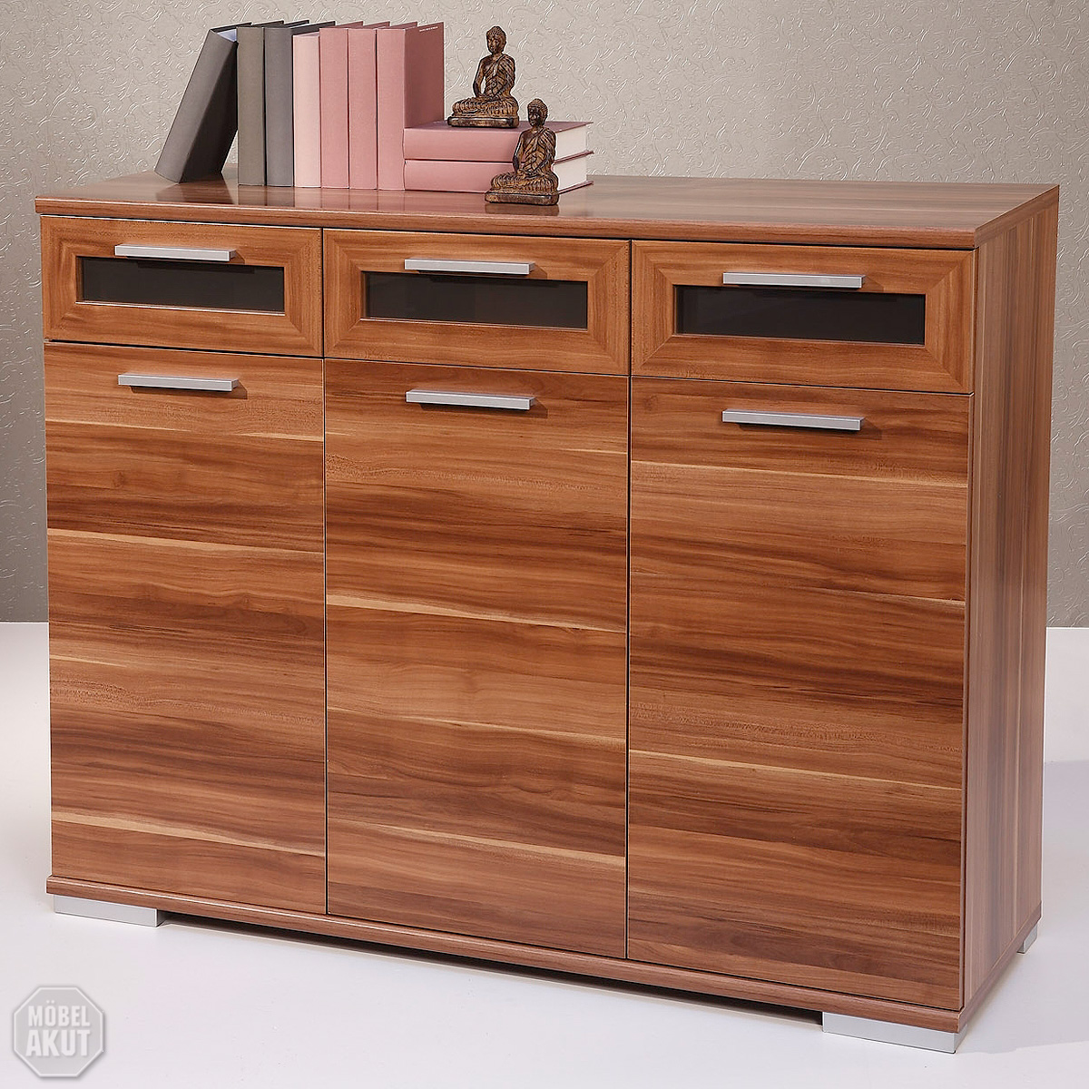 sideboard solido 3 highboard kommode walnuss schwarz ebay. Black Bedroom Furniture Sets. Home Design Ideas