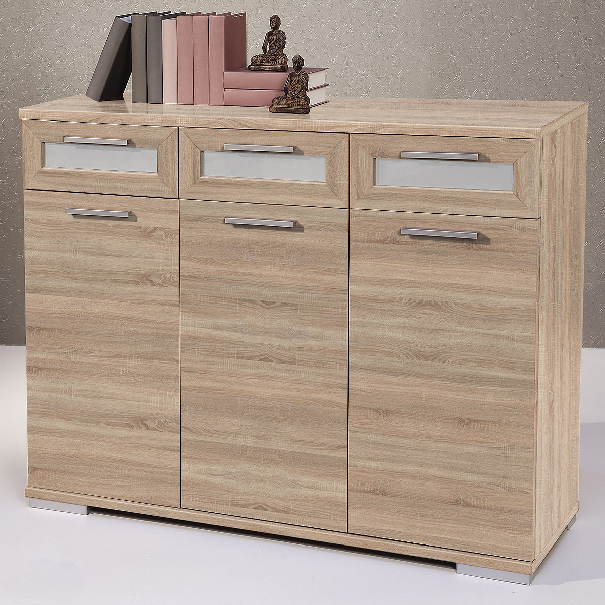 sideboard solido 3 highboard kommode sonoma eiche wei ebay. Black Bedroom Furniture Sets. Home Design Ideas