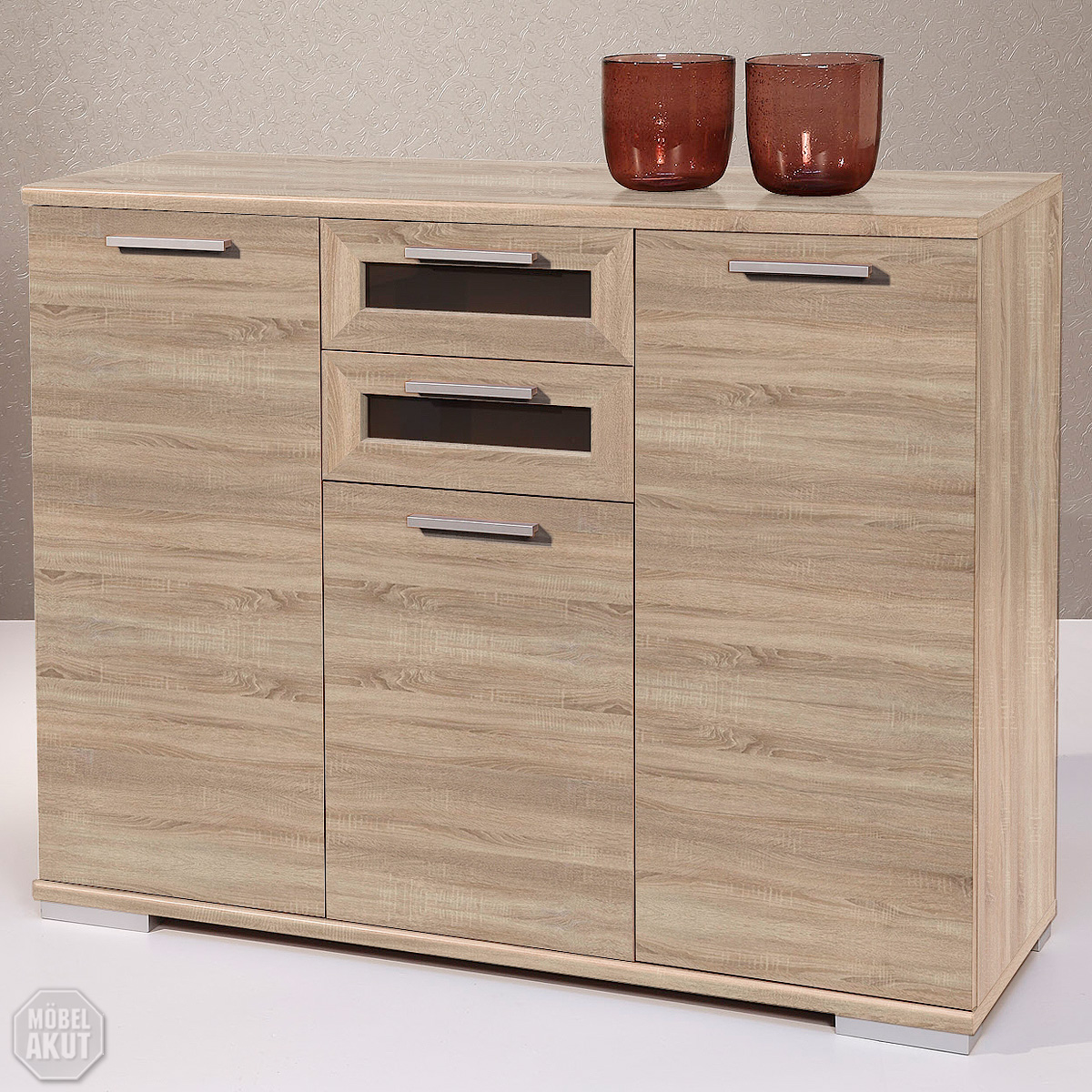 sideboard solido 4 kommode highboard sonoma eiche schwarz ebay. Black Bedroom Furniture Sets. Home Design Ideas