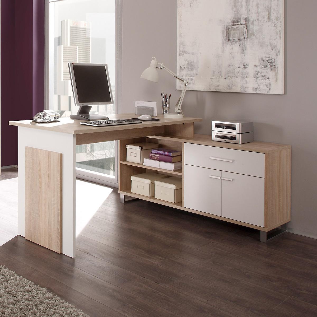 Schreibtisch Sonoma Eiche Weiß 2021