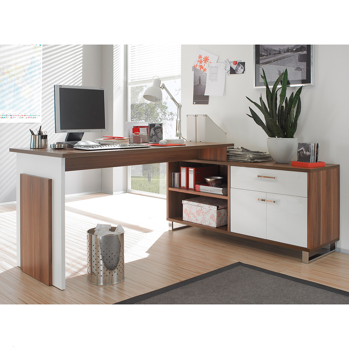 schreibtisch manager manga pc tisch computertisch walnuss wei ebay. Black Bedroom Furniture Sets. Home Design Ideas