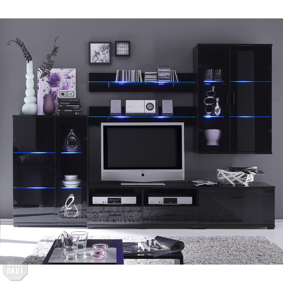 wohnwand comet 1 anbauwand glas schwarz lackiert inkl rgb led ebay. Black Bedroom Furniture Sets. Home Design Ideas