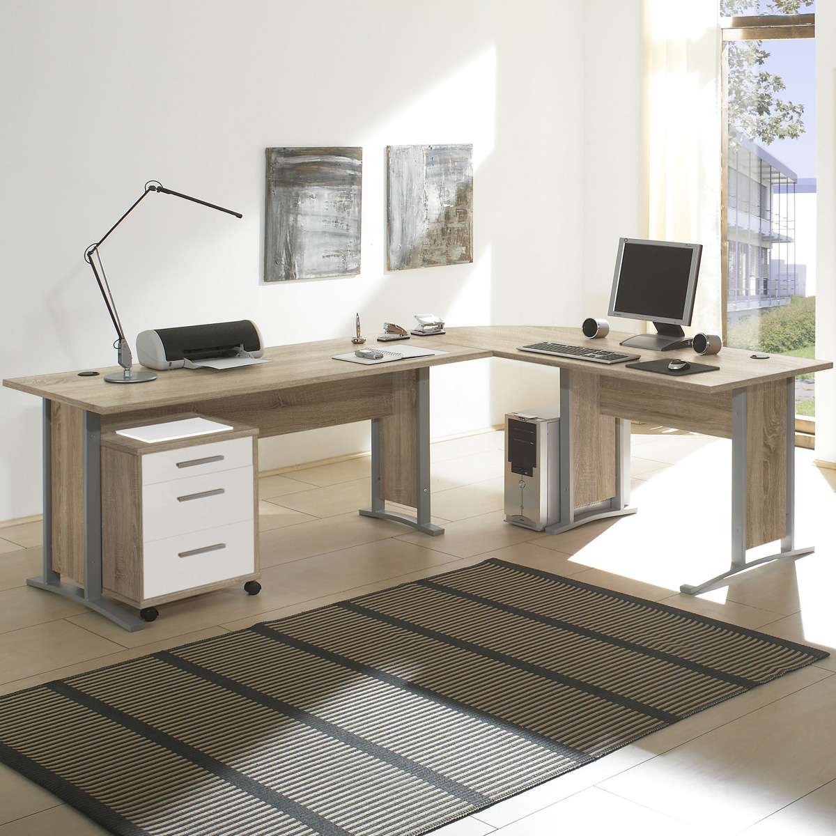 winkelschreibtisch office line biz schreibtisch kombination sonoma eiche wei ebay. Black Bedroom Furniture Sets. Home Design Ideas