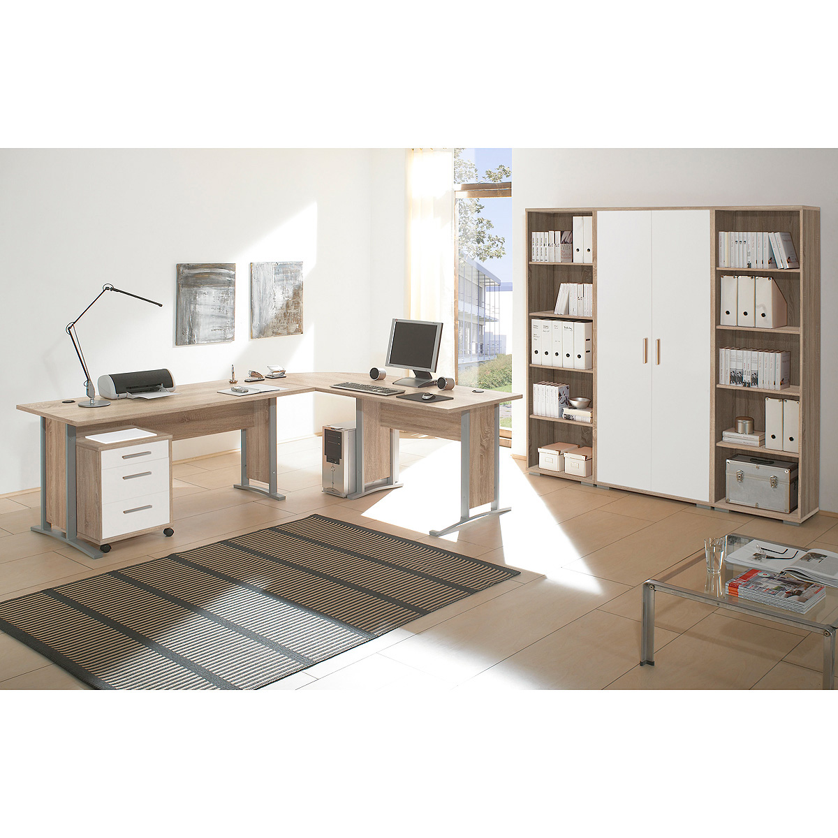 b ro set office line biz schreibtisch regal container in sonoma eiche wei ebay. Black Bedroom Furniture Sets. Home Design Ideas
