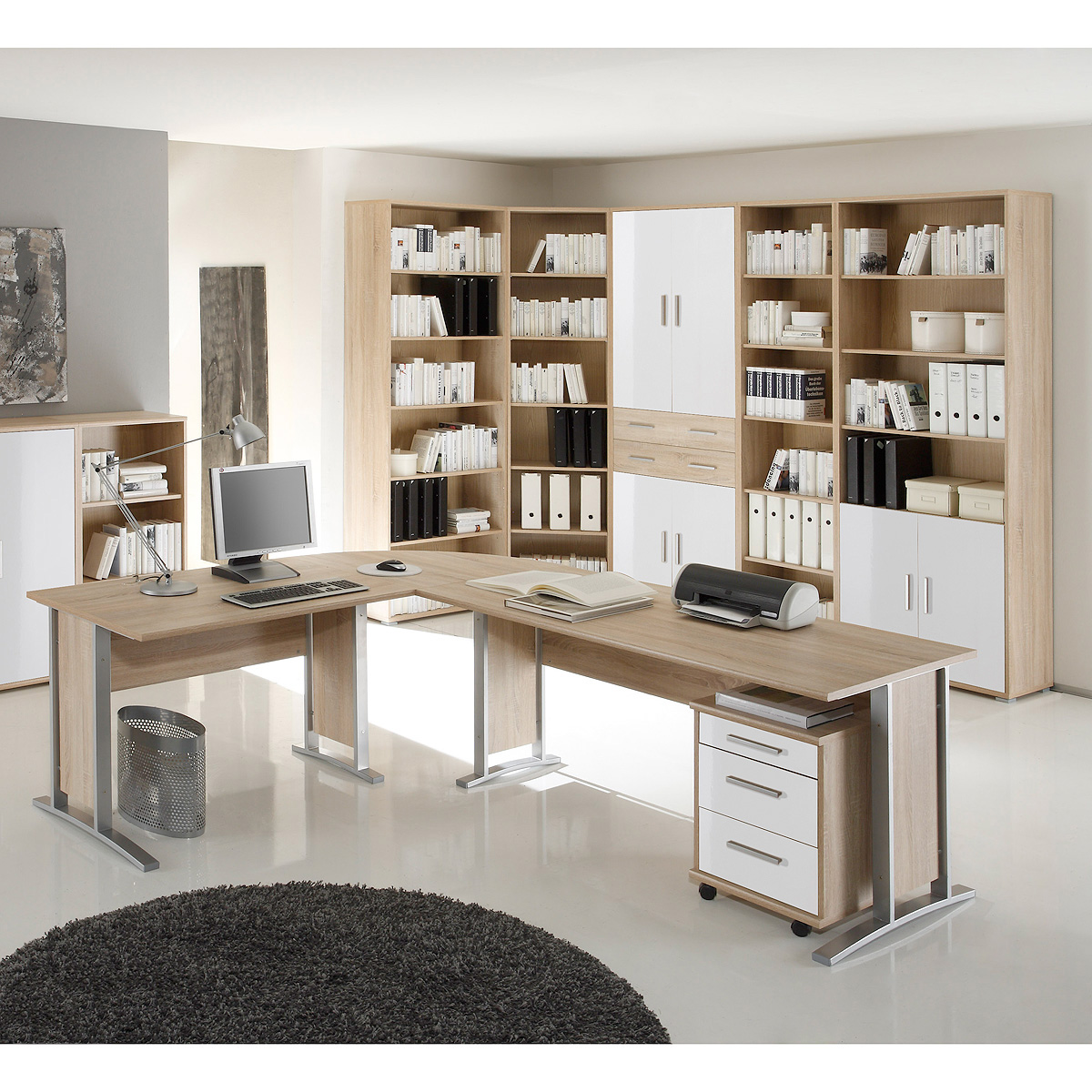 b ro set 2 office line biz schreibtisch regal container sonoma eiche wei ebay. Black Bedroom Furniture Sets. Home Design Ideas