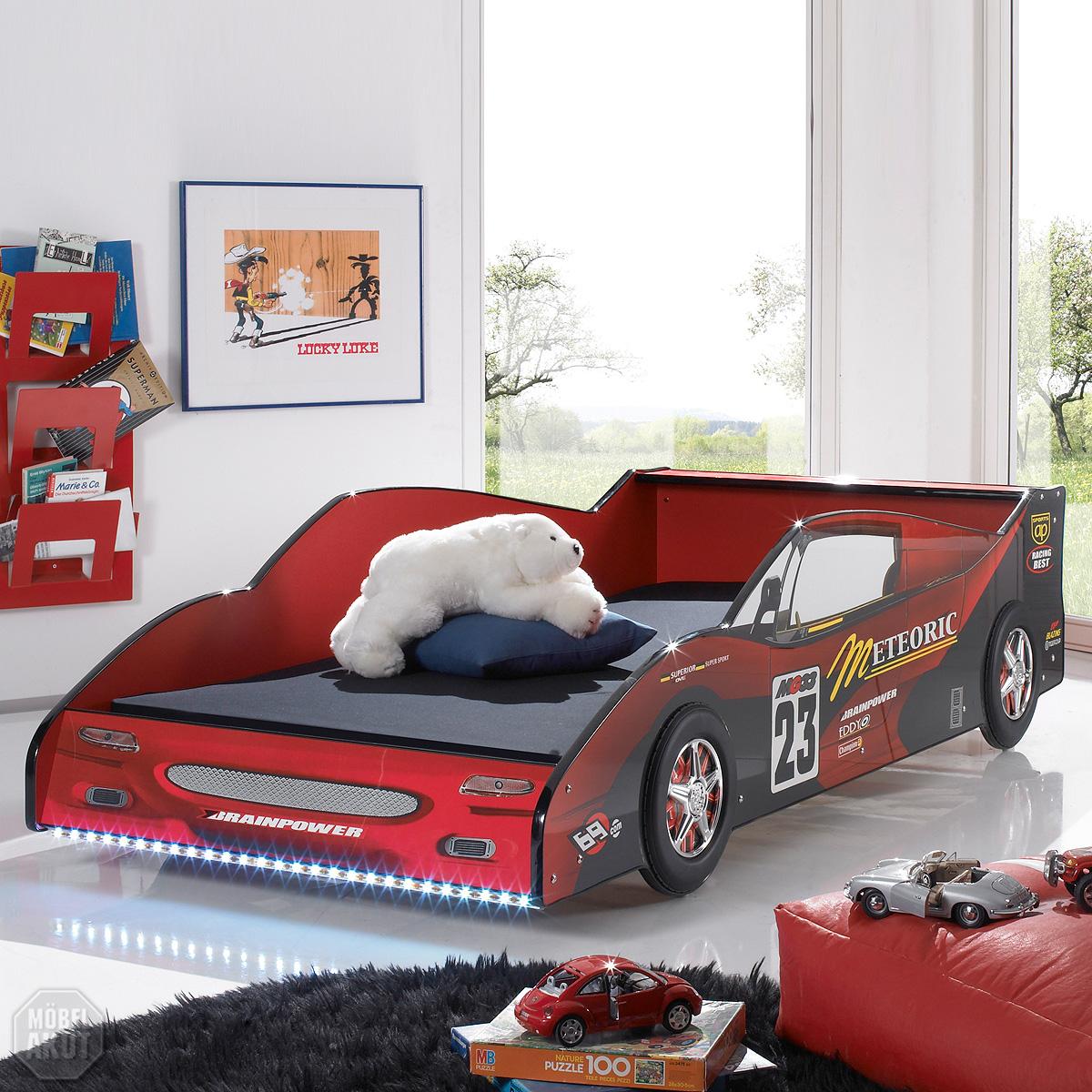 Autobett Meteor Kinderbett Bett In MDF Rot Hochglanz Inkl