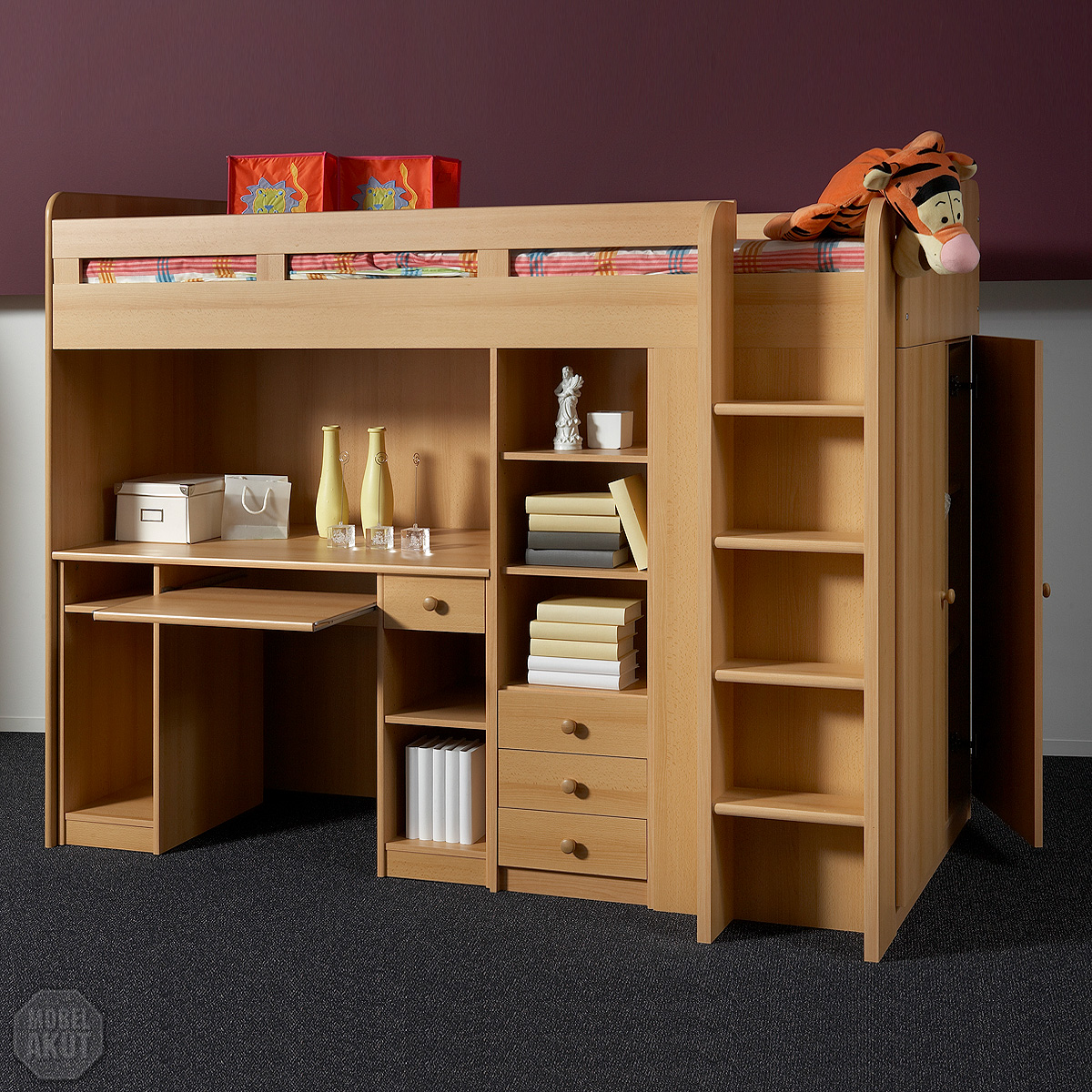 hochbett unit etagenbett kinderbett bett in buche 90x200. Black Bedroom Furniture Sets. Home Design Ideas