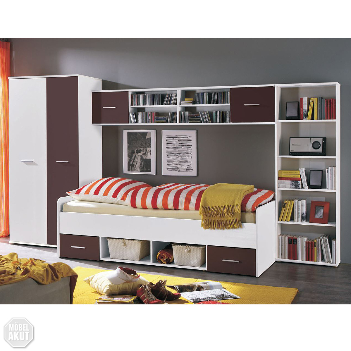 jugendzimmer set nadal kinderzimmer in wei und brombeer lila 4 tlg ebay. Black Bedroom Furniture Sets. Home Design Ideas