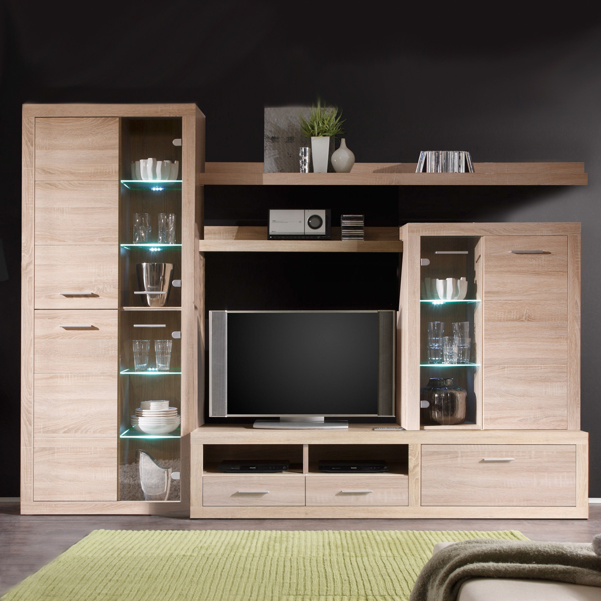 wohnwand can can 5 anbauwand eiche sonoma inkl led neu ebay. Black Bedroom Furniture Sets. Home Design Ideas