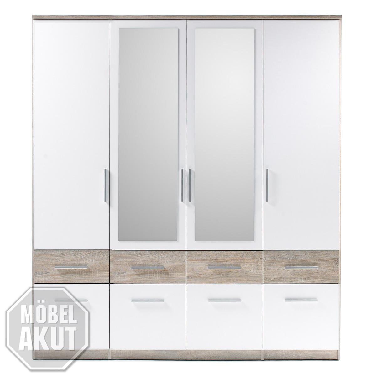 kleiderschrank box 4 schrank schlafzimmerschrank wei sonoma eiche spiegel 180 ebay. Black Bedroom Furniture Sets. Home Design Ideas