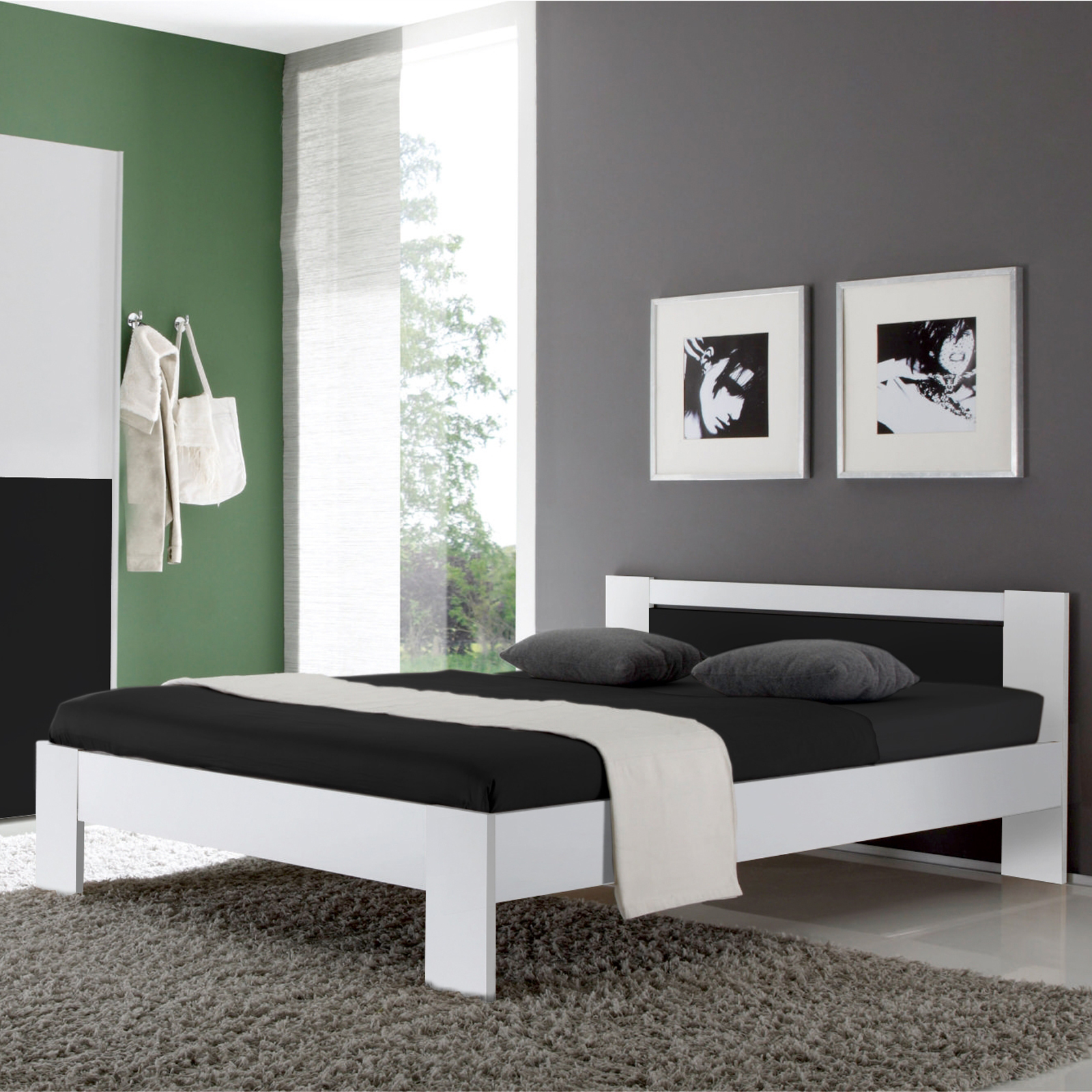 bett vega futonbett wei und schwarz inkl rollrost und. Black Bedroom Furniture Sets. Home Design Ideas