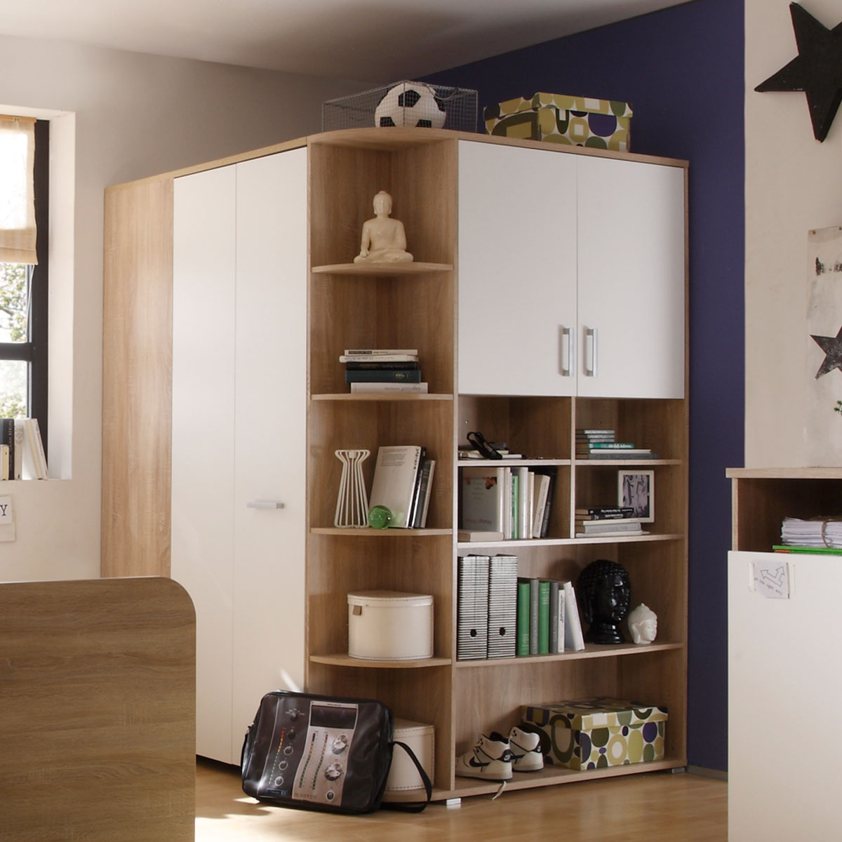 begehbarer eckschrank corner kleiderschrank schrank sonoma eiche wei ebay. Black Bedroom Furniture Sets. Home Design Ideas