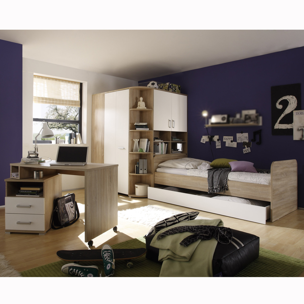 jugendzimmer set corner kinderzimmer schrank bett. Black Bedroom Furniture Sets. Home Design Ideas