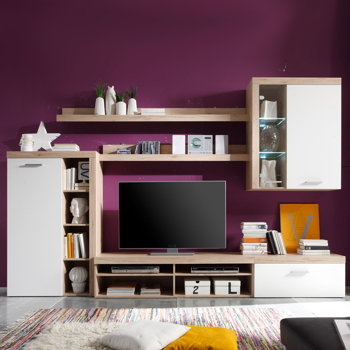wohnwand can be in san remo eiche hell und wei anbauwand ebay. Black Bedroom Furniture Sets. Home Design Ideas