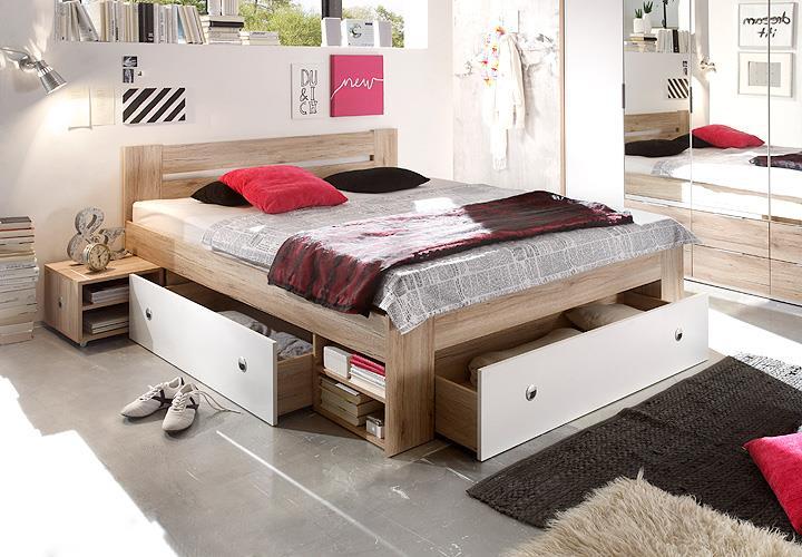 bett stefan funktionsbett schlafzimmerbett in san remo eiche wei 140x200 eur 239 95. Black Bedroom Furniture Sets. Home Design Ideas