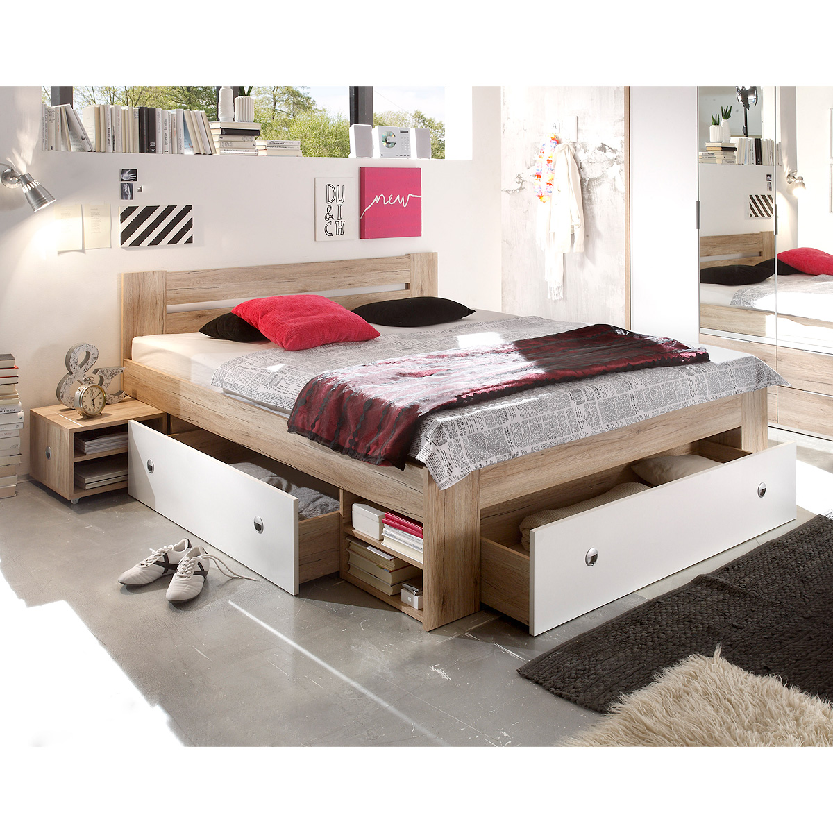 bett stefan funktionsbett schlafzimmerbett in san remo eiche weiss. Black Bedroom Furniture Sets. Home Design Ideas
