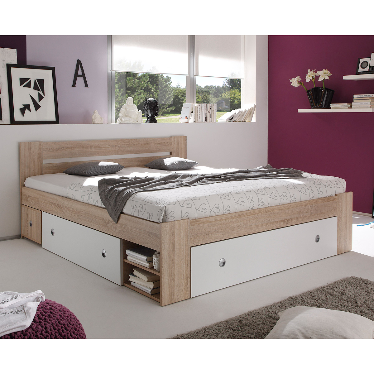 bett stefan funktionsbett schlafzimmerbett in sonoma eiche wei 140x200 ebay. Black Bedroom Furniture Sets. Home Design Ideas