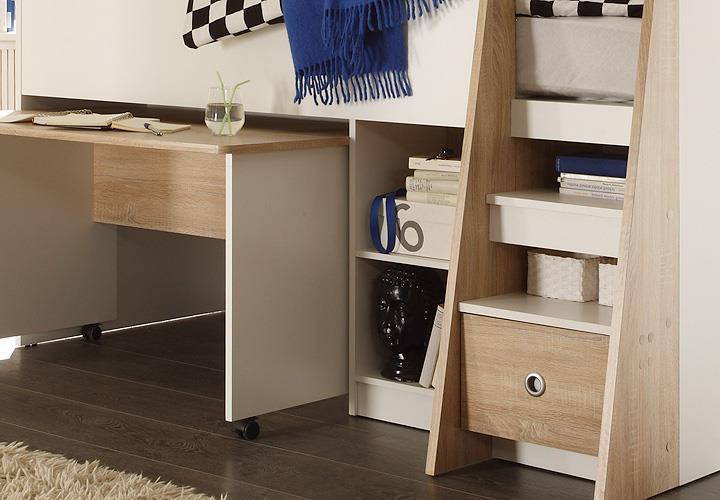 hochbett pierre in wei und sonoma eiche etagenbett bett mit schreibtisch ebay. Black Bedroom Furniture Sets. Home Design Ideas