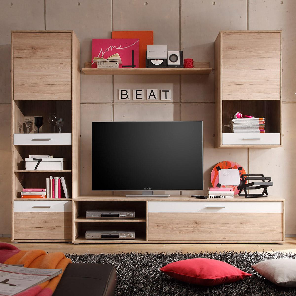 wohnwand cash anbauwand wohnzimmer san remo eiche hell und wei ebay. Black Bedroom Furniture Sets. Home Design Ideas