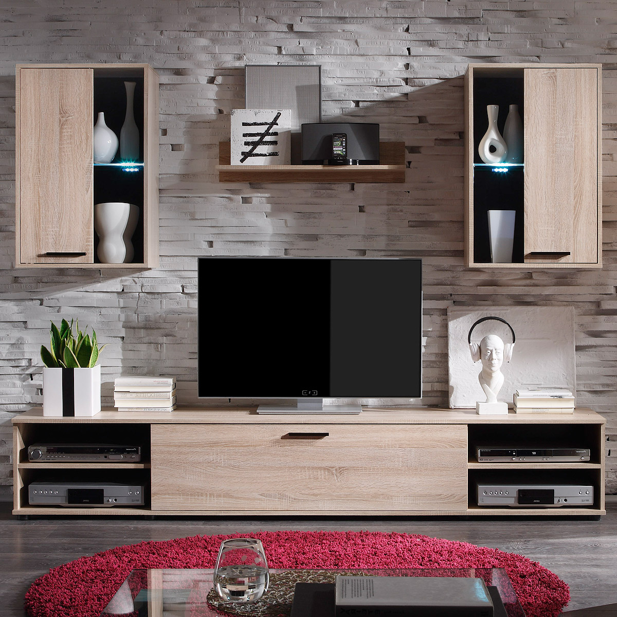 wohnwand final anbauwand wohnzimmer sonoma eiche inklusive led. Black Bedroom Furniture Sets. Home Design Ideas