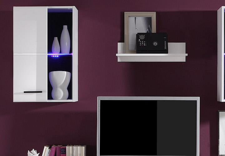 wohnwand final lux anbauwand wohnzimmer schrankwand in wei vitrinen mit led ebay. Black Bedroom Furniture Sets. Home Design Ideas